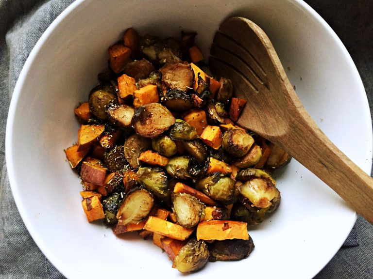 Brussels Sprouts and Sweet Potatoes in Balzamic Glaze